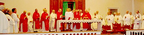 Large number of Priests concelebrating Eucharist