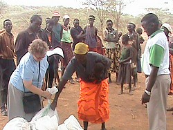 Distributing food in Pokot