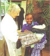 Sr. Ivanna gives blanket
