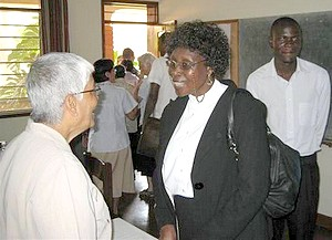 Sr. Lydia speaks with Lady Justice Mary Maitun