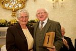 Sr. Miriam and President Michael D. Higgins (Courtesty of Lensmen)