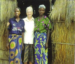 Sr. Frances with students outside first classroom