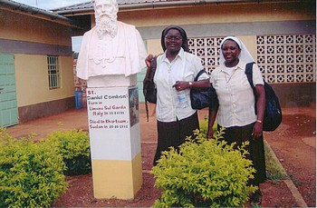 Srs. Rosemary and Angella outside Daniel Comboni Hospital